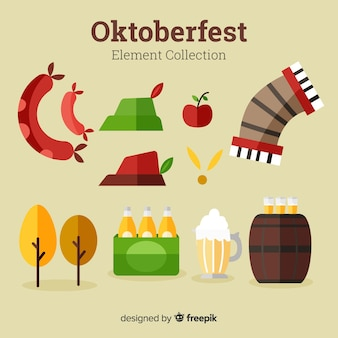 Collection d'éléments oktoberfest traditionnelle avec un design plat