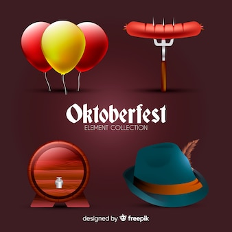 Collection d'éléments oktoberfest traditionnelle avec un design réaliste