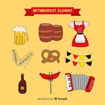 Collection d'éléments oktoberfest traditionnels dessinés à la main