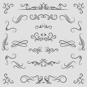 Collection d'éléments ornementaux calligraphiques