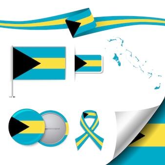 Collection d'éléments de papeterie avec le drapeau de la conception de bahamas