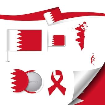 Collection d'éléments de papeterie avec le drapeau de la conception de bahreïn