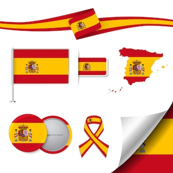 Collection d'éléments de papeterie avec le drapeau de la conception espagnole
