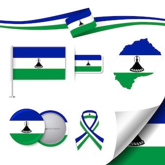 Collection d'éléments de papeterie avec le drapeau de la conception des lesotho