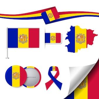 Collection d'éléments de papeterie avec le drapeau du design andorra