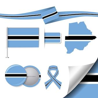 Collection d'éléments de papeterie avec le drapeau du design du botswana