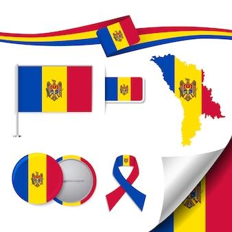 Collection d'éléments de papeterie avec le drapeau du design de moldova