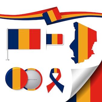 Collection d'éléments de papeterie avec le drapeau du design de tchad