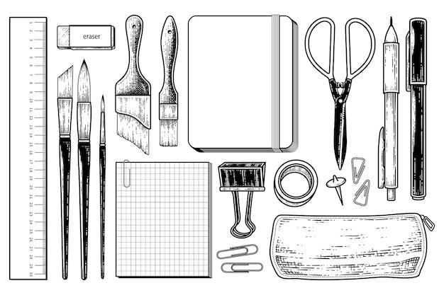 Collection d'éléments de papeterie vintage illustration de croquis dessinés à la main
