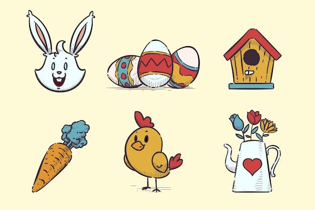 Collection d'éléments de pâques dessinés à la main