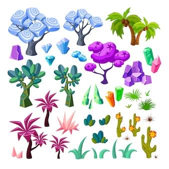 Collection d'éléments de paysage de dessin animé