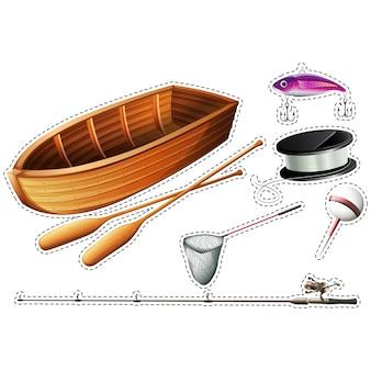 Collection d'éléments de pêche