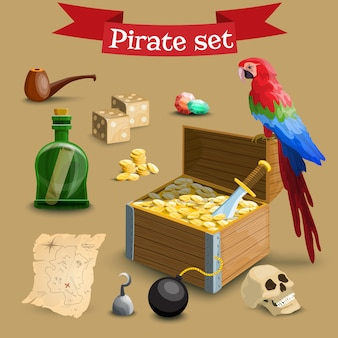 Collection d'éléments de pirates.