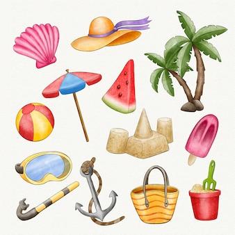 Collection d'éléments de plage aquarelle