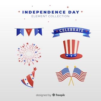 Collection d'éléments plats de la fête de l'indépendance