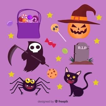 Collection d'éléments plats d'halloween