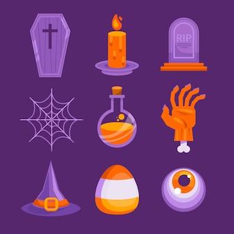 Collection d'éléments plats halloween