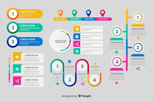 Collection d'éléments plats infographiques