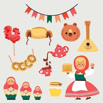 Collection d'éléments plats maslenitsa