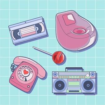 Collection d'éléments plats nostalgiques des années 90