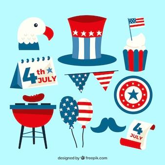 Collection d'éléments plats usa jour de l'indépendance