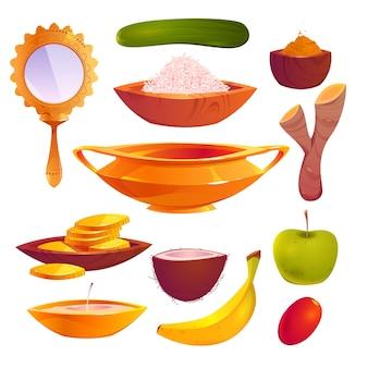 Collection d'éléments plats vishu