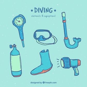 Collection d'éléments de plongée dessiné à la main