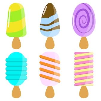 Collection d'éléments de popsicle savoureux conception graphique d'illustration de nourriture de dessin animé