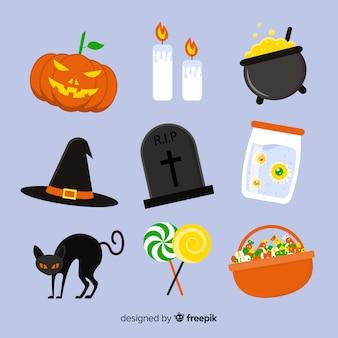 Collection d'éléments pour accessoires halloween plats