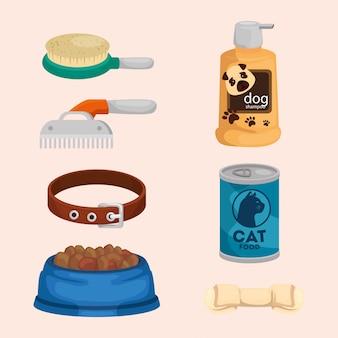 Collection d'éléments pour les animaux de soin