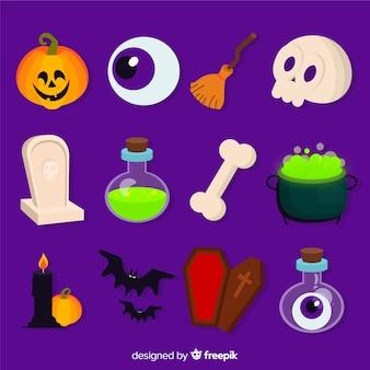 Collection d'éléments pour décors plats d'halloween