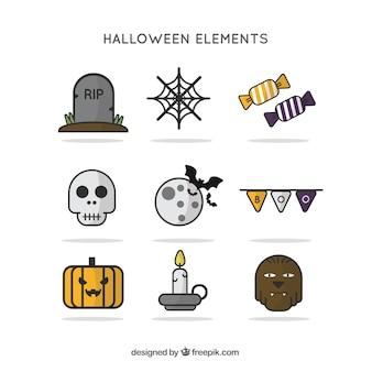 Collection d'éléments pour halloween