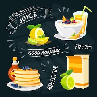 Collection d'éléments pour le petit-déjeuner