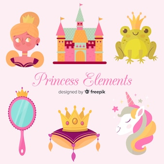 Collection d'éléments de princesse dessinés à la main