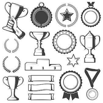 Collection d'éléments de récompenses de sport vintage