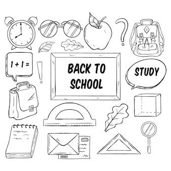 Collection d'éléments de rentrée scolaire en noir et blanc avec un style dessiné à la main