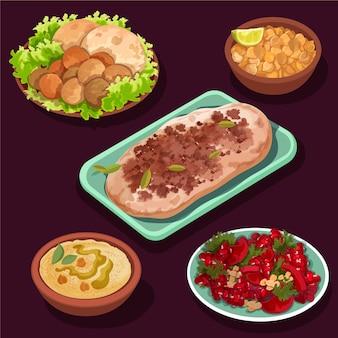 Collection d'éléments de repas iftar dessinés à la main