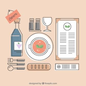 Collection d'éléments de restaurant