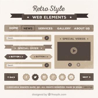 Collection d'éléments rétro web