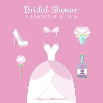 Collection d'éléments de robe de mariage et de cérémonie