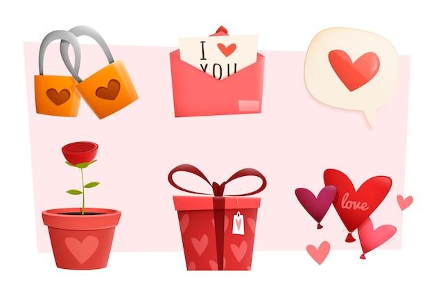 Collection d'éléments de la saint-valentin au design plat