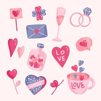 Collection d'éléments de saint-valentin dessin à la main