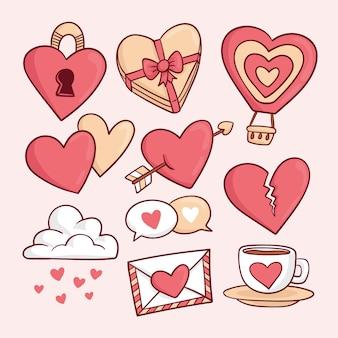 Collection d'éléments de saint valentin dessinés à la main