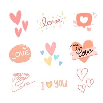 Collection d'éléments de saint valentin dessinés à la main.