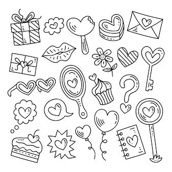 Collection d'éléments de la saint-valentin de doodle