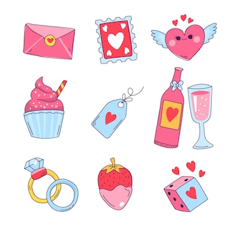 Collection d'éléments de la saint-valentin illustration dessinée à la main