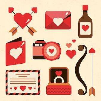 Collection d'éléments de la saint-valentin vintage