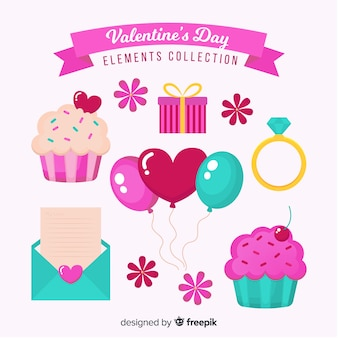 Collection d'éléments de la saint-valentin