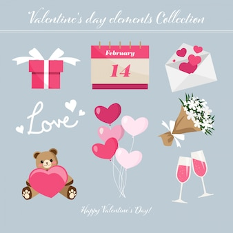 Collection d'éléments de saint valentin.