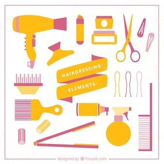 Collection d'éléments de salon de beauté jaune